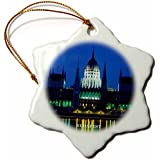 3dRose orn_61911_1 Budapest Hungary at Nite-Snowflake Ornament, Porcelain, 3-Inch