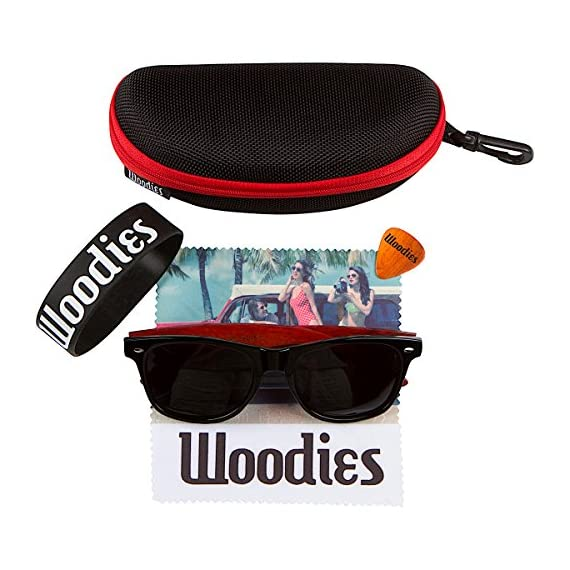 Woodies Rose Wood Sunglasses with Polarized Lenses 4 BONUS ITEMS: FREE Carrying Case, Lens Cloth, and Wood Guitar Pick BUY WITH CONFIDENCE: 30-Day Money Back Guarantee