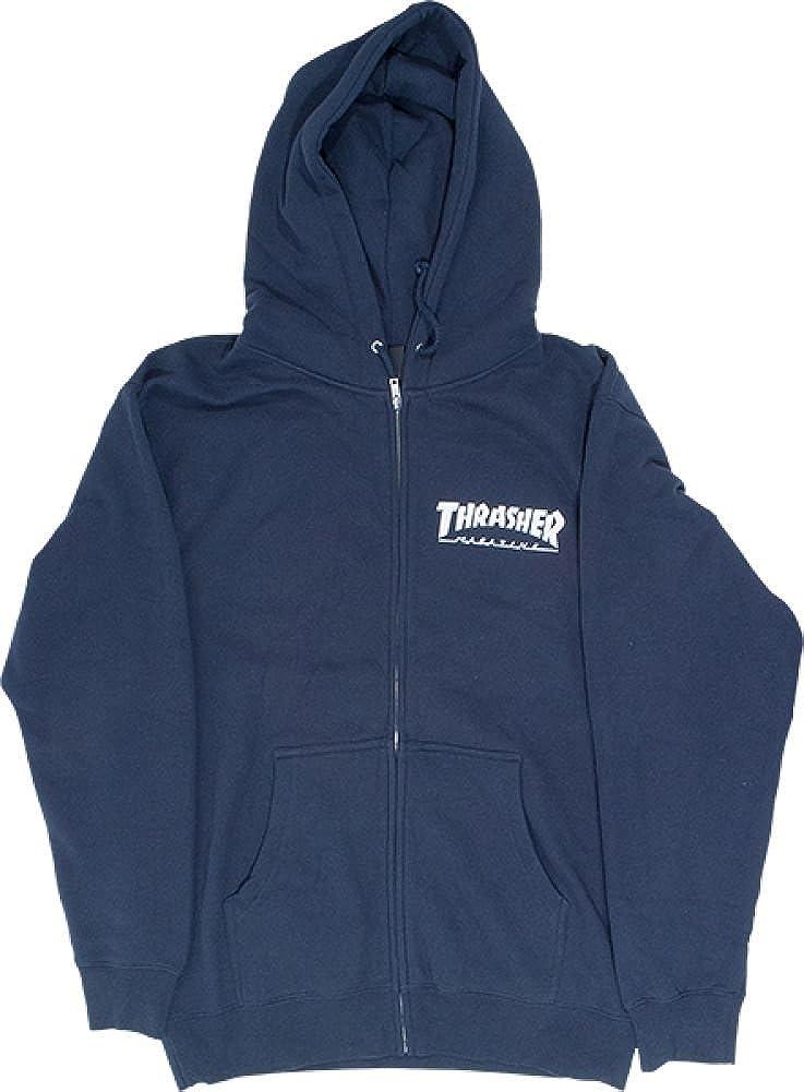 Thrasher Skate Mag Flames Logo Navy Blue Hoodie Sweatshirt AUTHENTIC