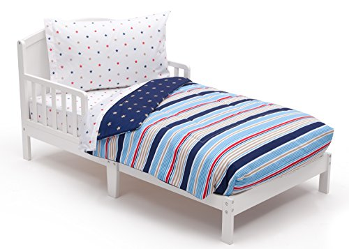 (Toddler Bedding Set | Boys 4 Piece Collection | Fitted Sheet, Flat Top Sheet w/ Elastic bottom, Fitted Comforter w/ Elastic bottom, Pillowcase | Delta Children | Boys Stars and Stripes | Red Blue Tan)
