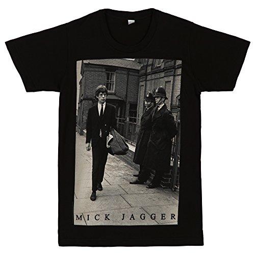Rolling Stones Mick with Bobbies Photo Adult T-shirt - Black - Black Mick