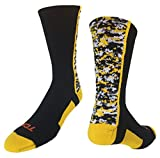 TCK Digital Camo Crew Socks (Black/Gold, Large)