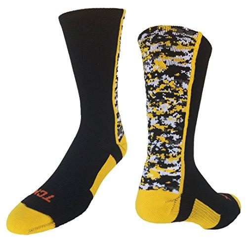 TCK Digital Camo Crew Socks (Black/Gold, - Socks Gold Boys