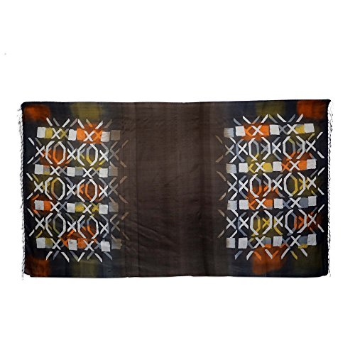 NOVICA Multicolor 100% Silk Batik Shawl, Psychedelic Tic-Tac-Toe'
