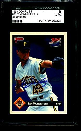 - 1993 DONRUSS #61 TIM WAKEFIELD PRIATES AU009749 SGC AUTOGRAPH 4041