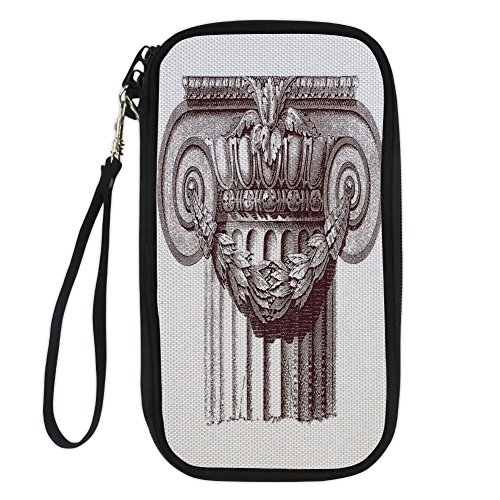 iPrint Ancient Decor,Classical Antique Column Roman Empire Architecture Heritage Culture Print,Burgundy White for Women Canvas Document Organizer Clutch - 12 Cash Column