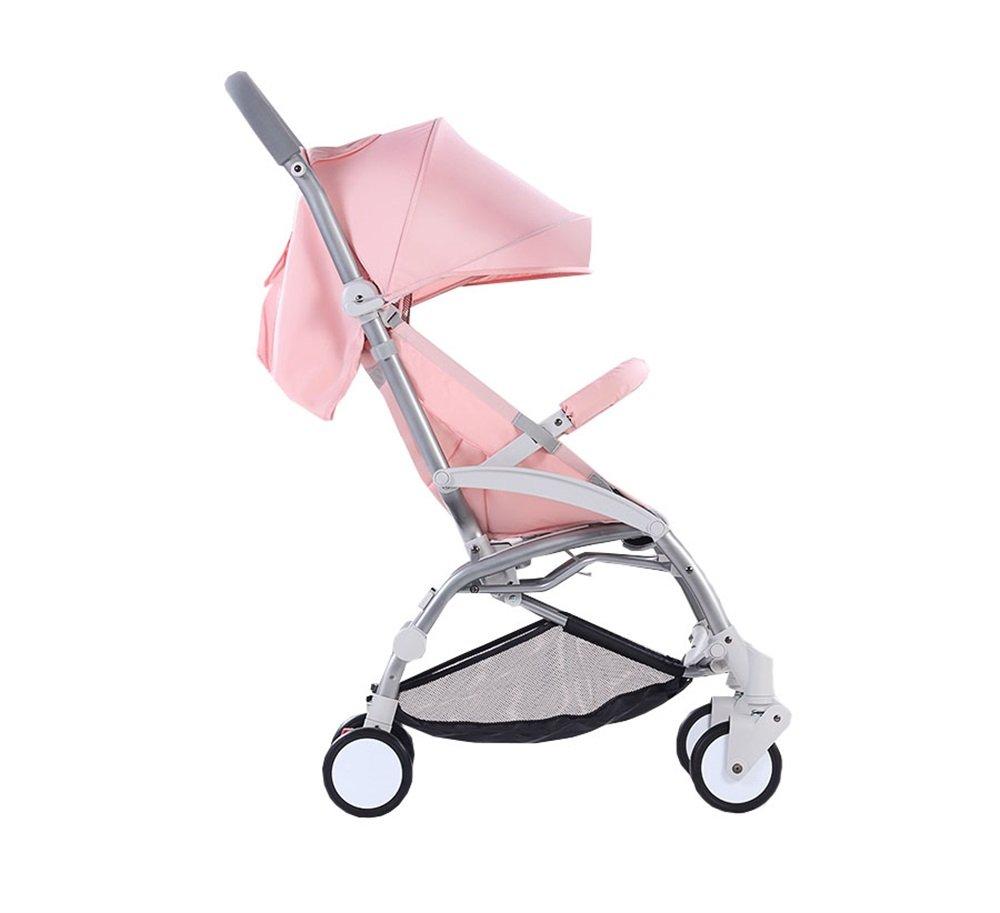 赤ちゃんポータブルトロリー子供軽量折りたたみ四季の傘の車0~3歳四輪車アルミ合金のフレーム(ピンク)   B07NJMD5YG