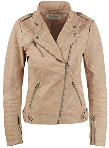 Desires Zalla Blouson en Cuir Vritable Veste Moto Femme Col  Revers en Cuir Vritable Simple Taupe (0162)