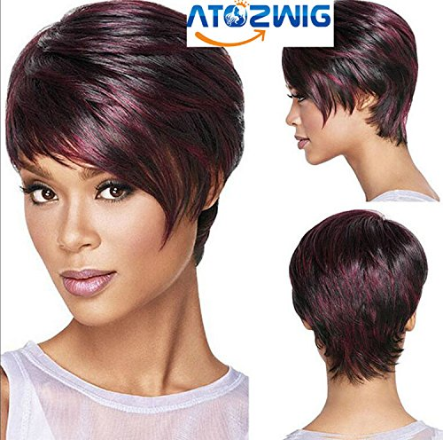 [ATOZWIG@30cm Fashion Sexy Fluffy Bob Ladies Synthetic Wig Women Tilted Frisette Short Hair Cosplay Wigs Wine] (Cheap Color Wigs)