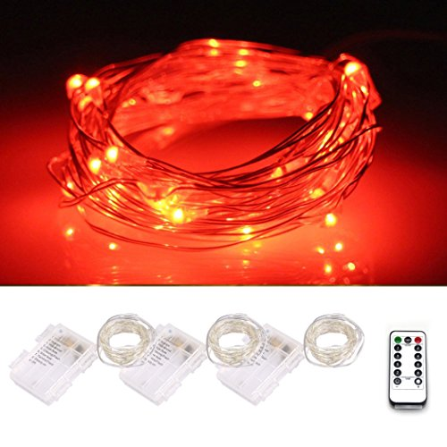LXS 3 Sets of 5M/50LEDs Waterproof Fairy Lights,Eight Kinds of Working Mode with Remote Control,Silver Wire Starry Season String Lights,Garden Patio Christmas Party Wedding Decoration(Red)