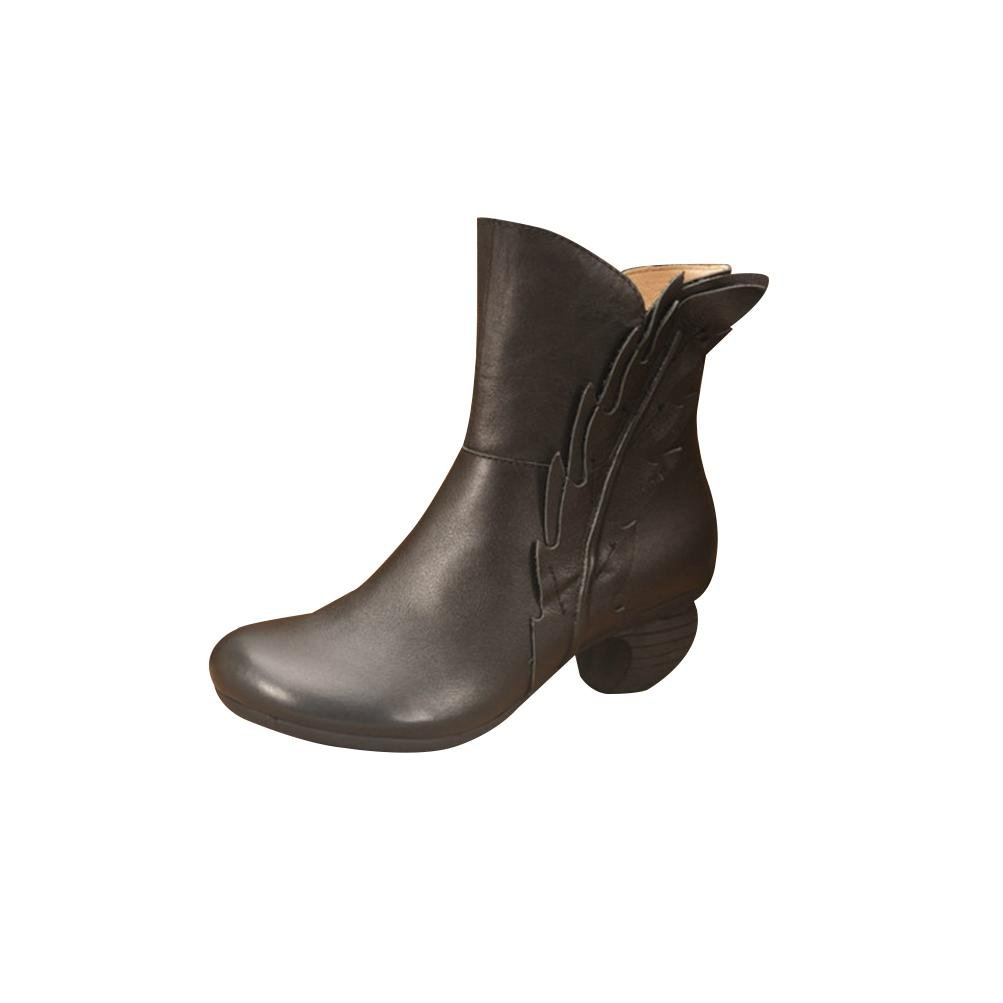 QPYC Damen Rub Farbe Handarbeit Echtes Leder Raue Ferse Ritter Stiefel Runde Kopf In Die Stiefel Schuhe , 35