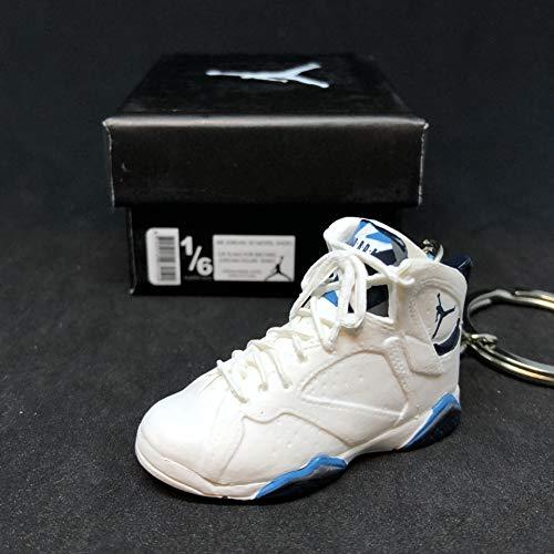 Air Jordan VII 7 Retro French Blue White UNC OG Sneakers Shoes 3D Keychain 1:6 Figure + Shoe Box (Jordan French Blue 7)