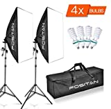 FOSITAN 1600W LED Photography Studio Lighting Light Kit Softbox, Photo Studio Kit for Photo Portrait Video Photography Shoot 20''x28'' LS-2000