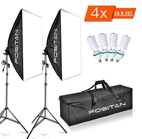 FOSITAN 1600W LED Photography Studio Lighting Light Kit Softbox, Photo Studio Kit for Photo Portrait Video Photography Shoot 20''x28'' LS-2000 by FOSITAN