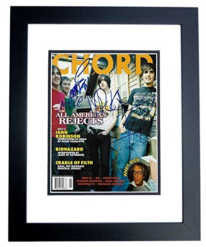 The All American Rejects Signed - Autographed Complete Group Chrod Magazine BLACK CUSTOM FRAME - Tyson Ritter, Nick Wheeler, Mike Kennerty, and Chris Gaylor
