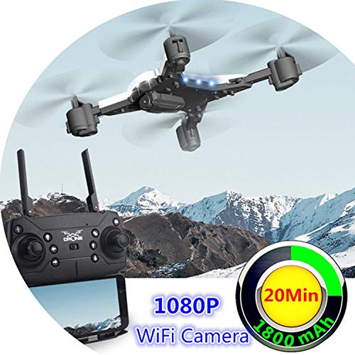 RC Helicopter Drone with Camera HD 1080P WiFi FPV SDrone Professional Foldable Quadcopter Fly 20 Minutes Battery Life,Black with 0.3MP CAM