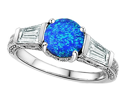 Star K Round 7mm Simulated Blue Opal Ring Sterling Silver Size 8