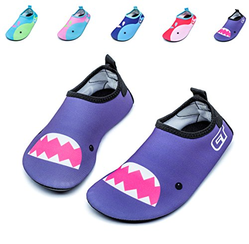 Giotto Kids Non Slip Barefoot Water Shoes Aqua Socks for Swim Beach Pool (Toddler/Little Kid/Big Kid), Purple, 22-23