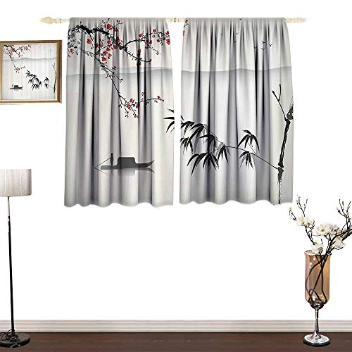 House Decor CollectionSimple curtainChinese Waterscape Painting Artwork Print with Bamboo Sakura Trees Birds Boat RiverEnvironmental Protection W55 xL45 Black Gray
