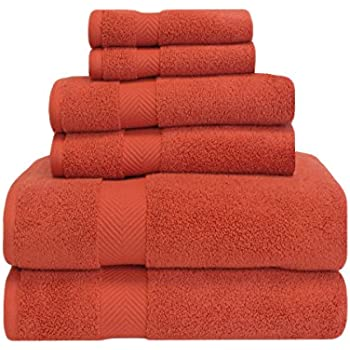 Superior Zero Twist 100% Cotton Bathroom Towels, Super Soft, Fluffy, and Absorbent, Premium Quality 6 Piece Towel Set with 2 Washcloths, 2 Hand Towels, and 2 Bath Towels - Brick
