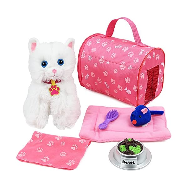 51XkHIm vrL. SS600  - Click N' Play 8 Piece Doll Kitten Set and Accessories. Perfect for 18 inch American Girl Dolls