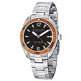 "Stuhrling Original Men's 515.04 ""Aquadiver Regatta Endeavor"" Swiss Quartz Date Orange Accent Stainless Steel Bracelet Dive Watch"
