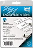 Jokari Label Once Erasable Multi-Use Labels Refill Pack, 70-Count