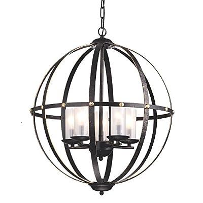 Anqitue Bronze Globe Sphere Cage Chandelier 5-Light Pendant Ceiling Fixture