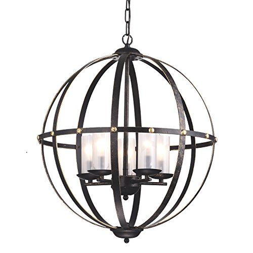 Edvivi 5-Light Antique Bronze Globe Sphere Orb Cage Chandelier Ceiling Fixture with Glass Sconces Modern Farmhouse Lighting