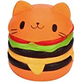 ELECSUM Kawaii Jumbo Food Squishise Cat Hamburgers Cream Scented Slow Rising Squishies Charms, Kid Toy, Lovely Toy Stress Relief Toy, Decorations Toy Large Wih 1 Pcs