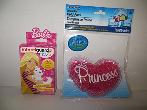 Bandage Boo (Reusable Cold Boo Boo Pack + Bandages for Kids - Heart Princess + Barbie Bandages)