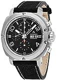 Anonimo Cronoscopio Mens Black Face Chronograph Day Date Black Leather Strap Swiss Mechanical Watch AM300001003A01