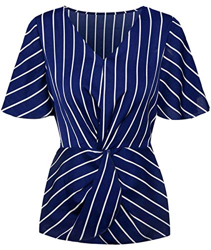 TURNMEON Ladies Floral Batwing Striped Short Sleeve V-Neck Ruched Twist Chiffon Chiffon Shirt Blouses (Navy Stripe, M) ()