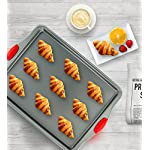Boxiki Kitchen Nonstick Baking Sheet Pan | 100% Non-Toxic Rimmed Carbon Steel Baking Sheet, No Chemicals or Aluminum… 8 100% CARBON STEEL — Our professional grade sheet baking pan is made of 100% brushed steel, with no chemical coating or aluminum fillers. This pan ensures that food prepared on this sheet is safe and healthy for your family to enjoy! HEAVY GAUGE METAL —This metal baking pan is made of heavy gauge steel. This reliable metal won't bend or warp and has high weight capacity. It is corrosion resistant, oven-safe up to 445°F, and can be used in freezers, refrigerators and dishwashers! VERSATILE USE—Measuring 14.5 x 11 inches cooking area, this commercial baking sheet works for most standard baking uses and fits in a conventional residential oven. For easy cleaning, line with parchment paper or silicone mat before use, then wipe clean with a damp cloth.