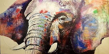 Abstracto Acuarela Elefante africano Arte de la pared Animal Pintura al óleo Lienzo Escandinavo Nórdico Arte de la pared Cuadro Sin marco Pintura decorativa Sala de estar A107 50x70cm