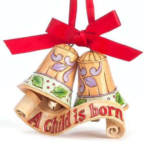 Jim Shore Heartwood Creek Legend of Christmas Bells Stone Resin Hanging Ornament, 3