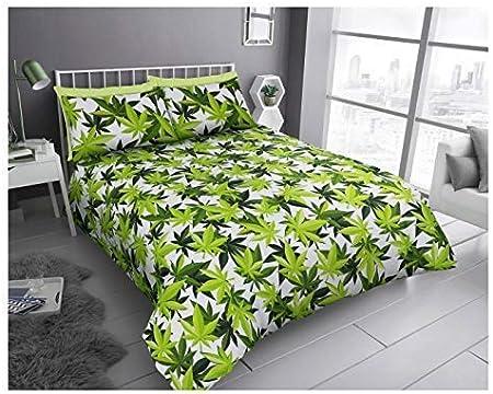 FAIRWAYUIK - Juego de Funda de edredón y Funda de Almohada con diseño de Hojas de Marihuana y Cannabis, White/Green, Matrimonio