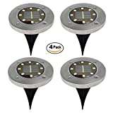 Solar Ground Lights, Hmlai 4pcs 8LED Garden Pathway Outdoor In-Ground Lights Driveway Lawn Walkway Flood Lights