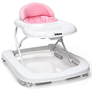 INFANS Foldable Baby Walker for Boys and Girls, 2 in 1 Toddler Walker Learning-Seated or Walk-Behind, Adjustable Speed Rear Wheels, Safety Bumper, Detachable Seat Cover, Anti-Rollover (Pink)