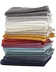 Washcloths by Living Fashions 12 Pack 100% Extra Soft Ring Spun Cotton Size 12 X 12 Soft and Absorbent Machine Washable Vibrant Assorted Colors