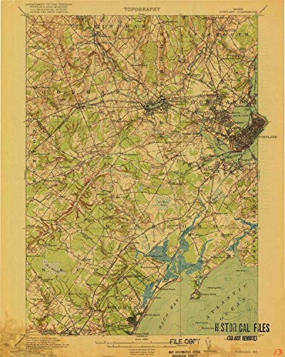 (YellowMaps Portland ME topo map, 1:62500 Scale, 15 X 15 Minute, Historical, 1916, 19.5 x 15.6 in - Paper)