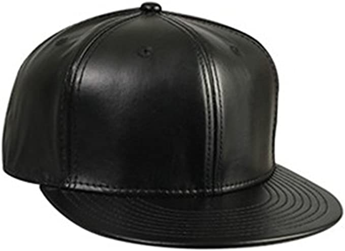 PU Leather Snapback Cap Plain Baseball Hip Hop Ear Fitted Flat Peak Hat Black
