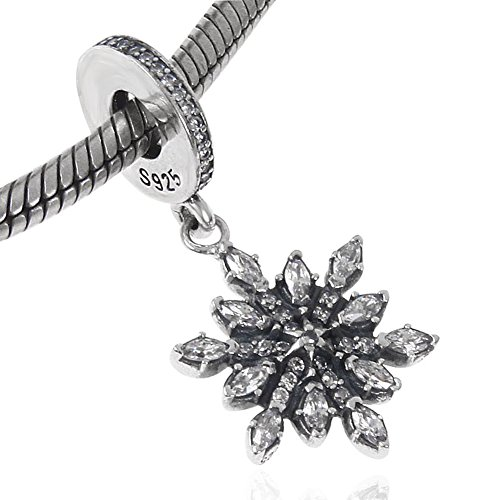 (Crystallized Snowflake Dangle Charm - 925 Sterling Silver - Fit European Style)