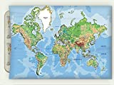 Minicoso Flannel Throw Blanket World Map Decor Collection Educational Globe Map Oceans And Lands Window Treatments Girls Boys Room Set B Autumn Winter Warm Double Sides Print Blanketry, 87'' W x 59'' H