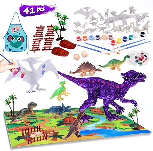 41 PCS Kids Crafts Dinosaur Paint Set Arts and Crafts Supplies Kit Fun DIY Activities Christmas Thanksgiving Halloween Birthday Gifts for Preschool Toddlers Boys Girls Age 4 5 6 7 8 9 10 Years Old