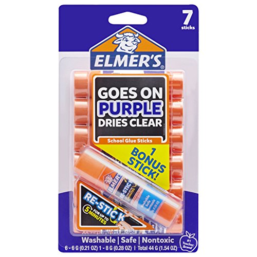 Repositionable Glue Stick Photo Safe - Elmer's Disappearing Purple Glue Sticks with Bonus Re-Stick Glue Stick, 6 + 1 Pack