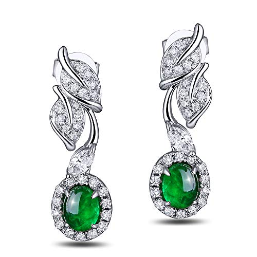Caimao Jewelry 18K White Gold 0.8ct Natural Cabochon Emerald 0.44ct Full Cut Diamond Stud Earrings Leaves ()