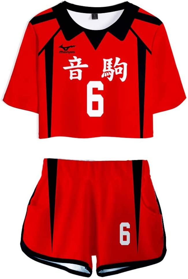 Flyself Haikyuu! Anime Haikyuu 3D Stampata T-Shirt Crop Top /& Pantaloncini Set Cosplay Karasuno High School Manica Corte Maglietta Shorts 2 Pezzi Sportivo Ragazze e Donne
