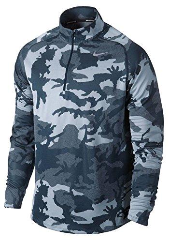 Nike Men's Dri-Fit Element Jacquard Half Zip Running Shirt-Blue-Large