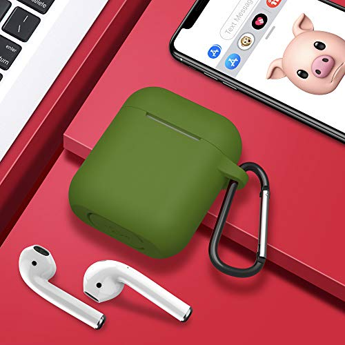 AirPods Case,SATLITOG Protective Silicone Cover Compatible with Apple AirPods 2 and 1(Not for Wireless Charging Case)(Olive Green)